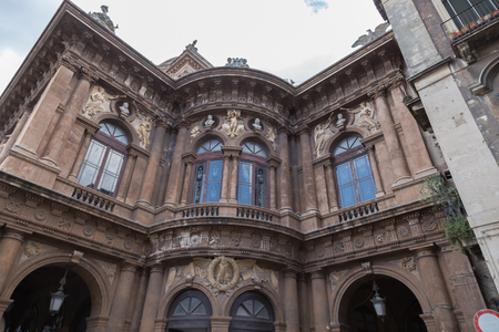 Detail of Theater on Piazza Vincenzo Bellini in Catania, Sicily, Italy. Teatro Massimo Bellini. Editorial