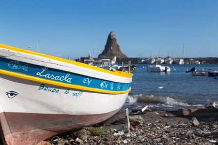 ITALY, ACITREZZA - October 07, 2017: Acitrezza and its little fishing port on cyclops riviera in Sicily, Catania.