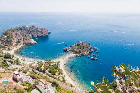 View of Isola Bella in Taormina, Sicily, Italy