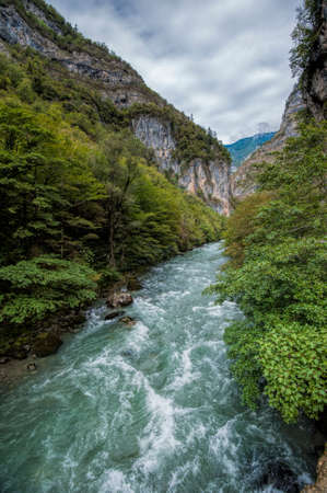 The Bzyb mountain river in the Republic of Abkhazia Stock Photo