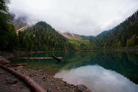 Alpin lake Little Ritsa, or Malaya Ritsa, in the Republic of Abkhazia, Caucasus mountains