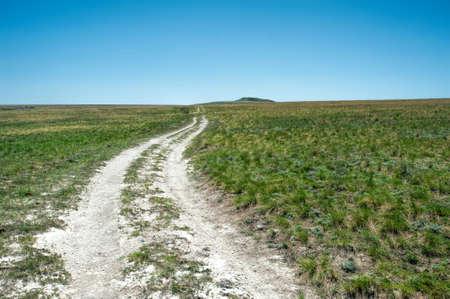 A white road in the Don chalk mountains, Volgograd region, Russia