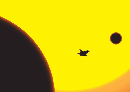 A journey from earth to the moon in front of the sun