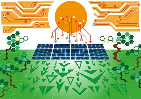g�n�rer: �nergie propre, Solar power plant de cellules produisent de l'�lectricit� � partir de la lumi�re du soleil Illustration