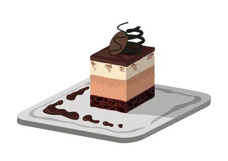 serve: Chocolate cake serve on a plate Illustration