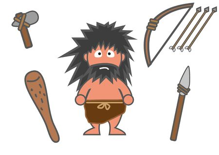 Man and his equipment in ancient time, cartoon version
