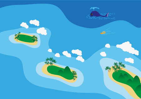 view on sea: Sea scape view from top Illustration