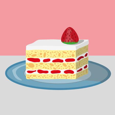A piece of Strawberry shortcake  イラスト・ベクター素材