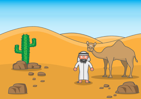 An Arab man with his buddy in desert
