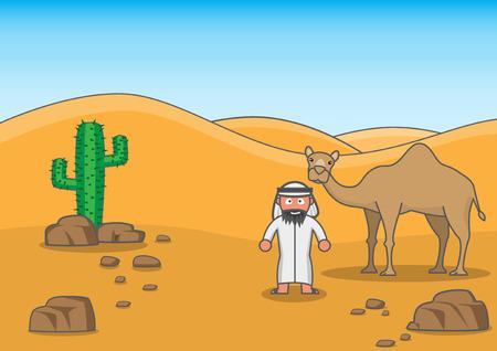 arab man: An Arab man with his buddy in desert