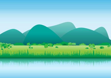 Vista del paisaje de ribera interior del país