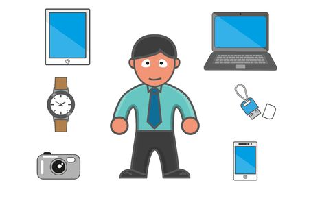 Man and his equipment in modern day, cartoon version.
