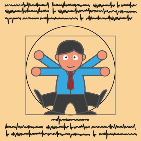 Vitruvian man in modern man cartoon version