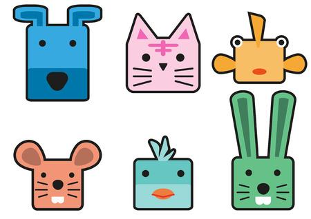 Animal head cartoon rectangle style  イラスト・ベクター素材