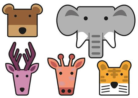 animal head: Animal head cartoon rectangle style Illustration