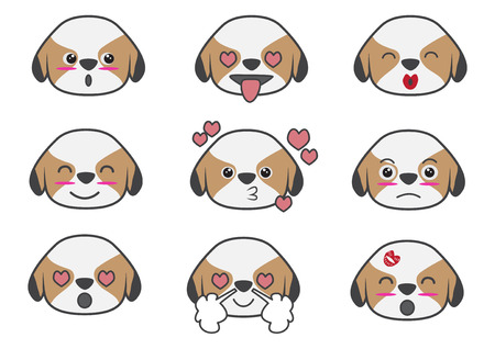 Cartoons show difference emotion of Tsi zhu puppy