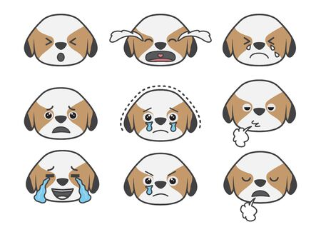 glad: Cartoons show difference emotion of Tsi zhu puppy