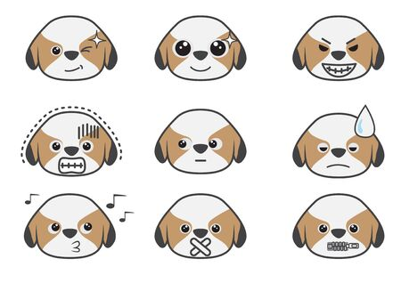 feeling exhausted: Cartoons show difference emotion of Tsi zhu puppy