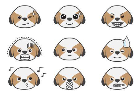perro asustado: Dibujos animados muestran diferencia emoci�n del perrito Tsi zhu Vectores