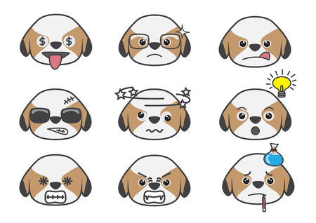bad idea: Cartoons show difference emotion of Tsi zhu puppy