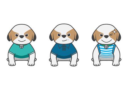 Cartoon show difference dress up of Tsi zhu puppy Ilustracja