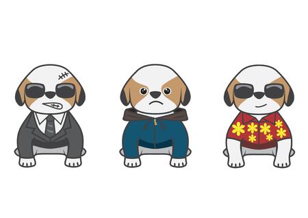 Cartoon show difference dress up of Tsi zhu puppy Illustration