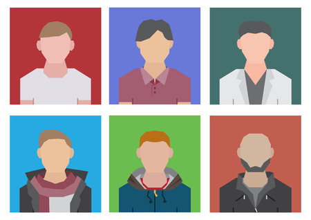 Difference people in geometric style cartoon