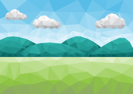 Mountain and field landscape in low poly style
