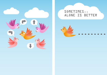Sometimes it is better to be alone Illustration