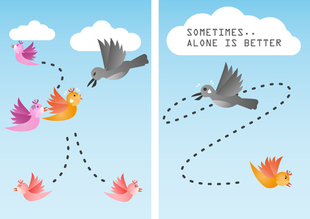 fled: Sometimes it is better to be alone Illustration