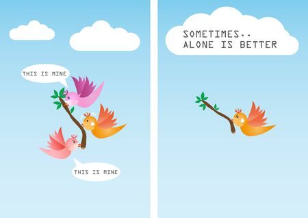alone: Sometimes it is better to be alone Illustration