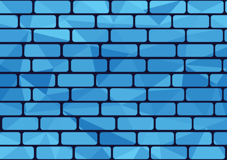 Blue brick background in polygon style