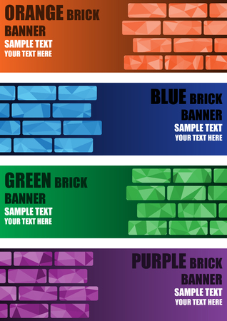 Polygon brick banner background origami style