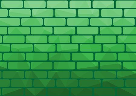 Polygon brick green background origami style