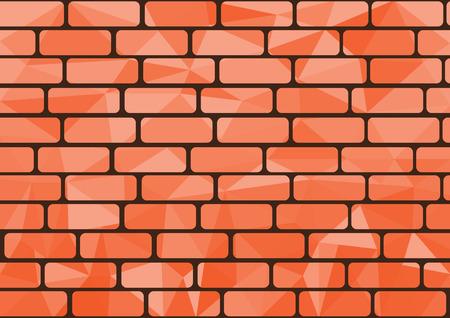 Polygon brick orange background origami style