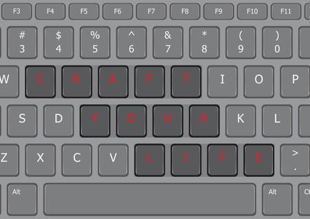 Craft your life letter laptop keyboard US Ilustracja