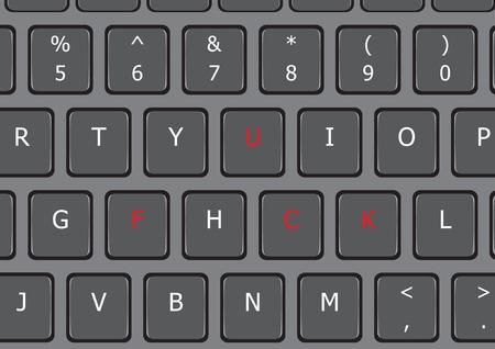 Fuck word on laptop keyboard US letter Ilustracja