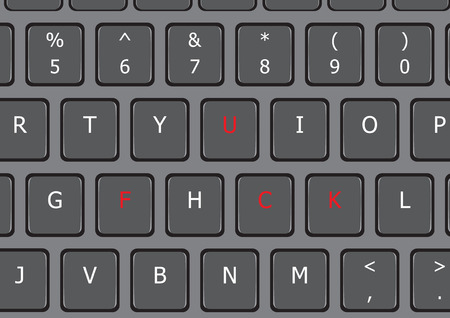 Fuck word on laptop keyboard US letter Illustration