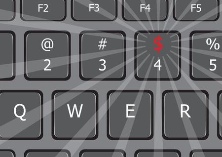 私たちのラップトップのキーボードのお金のドル記号であります。 写真素材 - 38964274