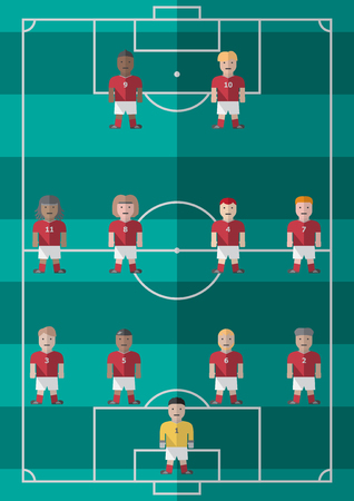 Soccer football strategy formation 4-4-2 flat graphic Ilustracja