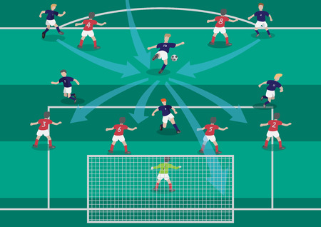 The soccer football playmaker center of the team flat graphic Ilustracja