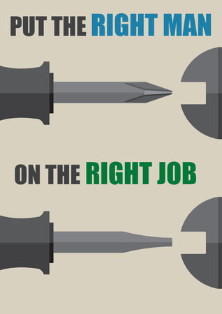 Vector put the right man on the right job management concept match screwdriver