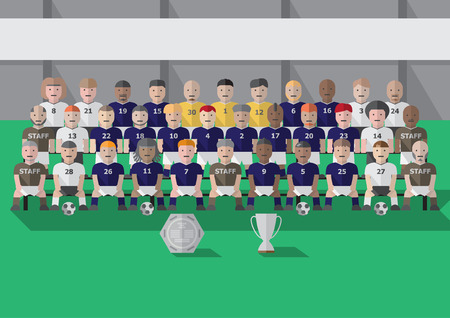 Vector soccer club team season picture with trophy flat graphic Ilustracja