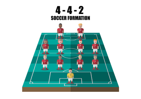 tactic: Vector soccer strategy  4-4-2 tactic flat graphic