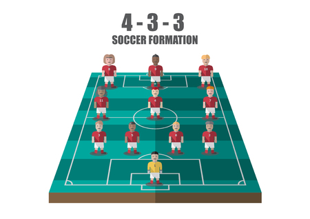 Vector soccer strategy 433 tactic flat graphic Illustration