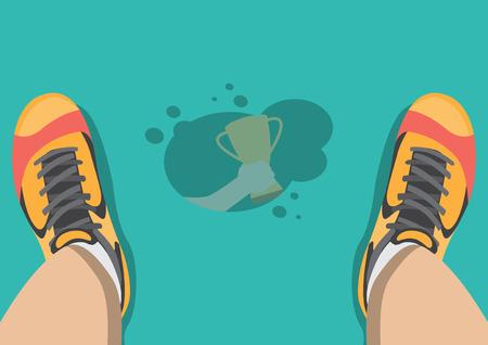 Vector sweat drip on floor reflex hand grab trophy Illustration