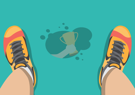 reflex: Vector sweat drip on floor reflex hand grab trophy Illustration
