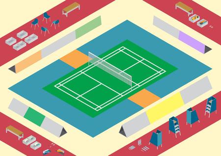 badminton: Vector badminton court objects isometric