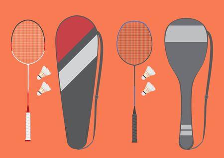 Vector badminton racket sets