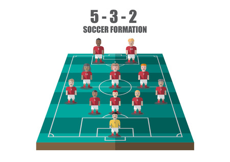 tactic: Vector soccer strategy  532 tactic flat graphic
